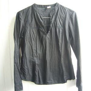 J. Crew Black Cotton Tunic Top - Size M Lace trim!